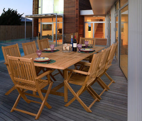 Amazonia Teak Hamburg 9-Pc Dining Set Outdoor
