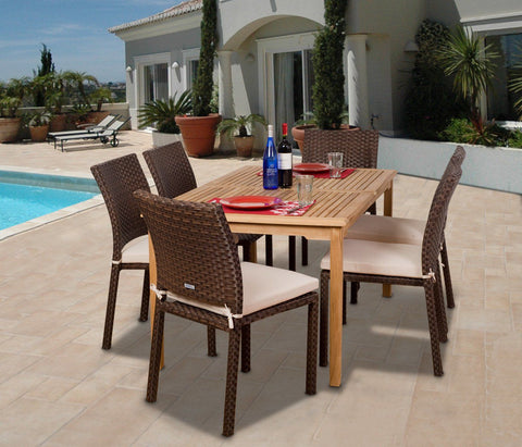Amazonia Teak Luxemburg 7-Pc Teak/wicker Dining Set Outdoor