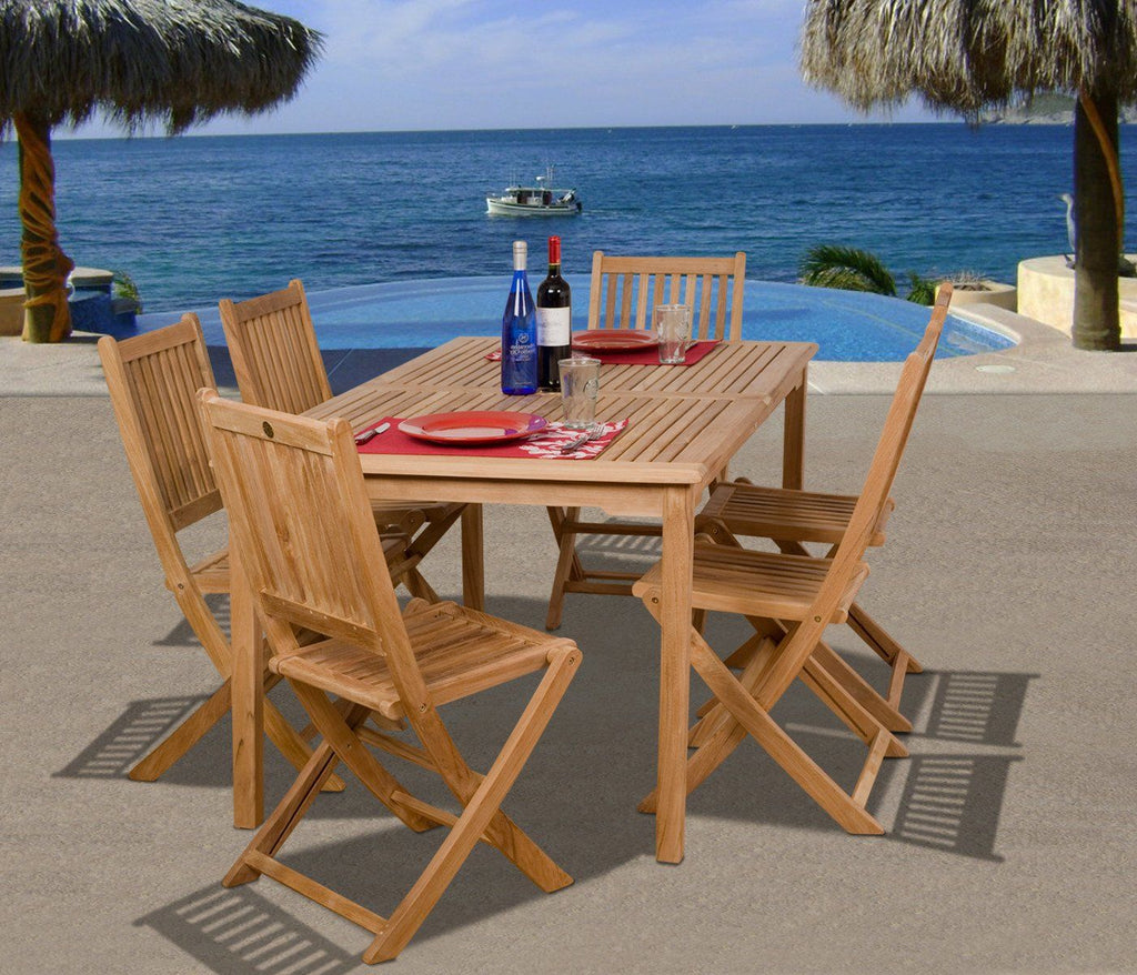 Amazonia Teak Prague 7-Pc Dining Set Outdoor
