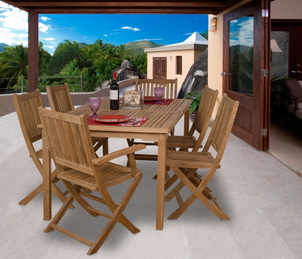 Amazonia Teak Rotterdam 7-Pc Dining Set Outdoor
