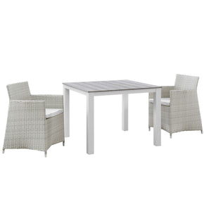 Junction 3 Piece Outdoor Patio Wicker Dining Set Gray White