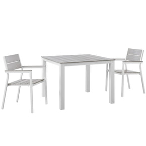 Maine 3 Piece Modern Outdoor Patio Dining Set Solid Light Gray Wood White
