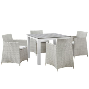 Junction 5 Piece Outdoor Patio Dining Set Gray White