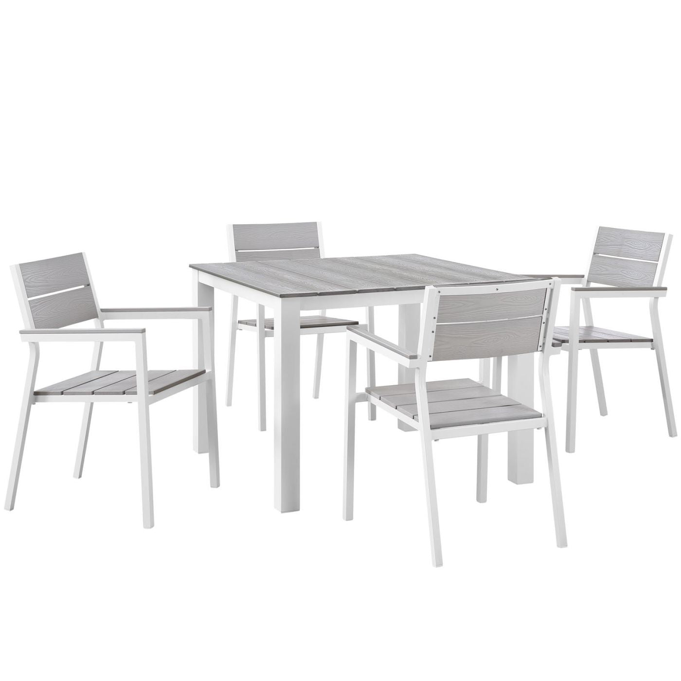 Modway Outdoor Dining Sets On Sale Eei 1745 Whi Lgr Set Maine Modern 5 Piece Outdoor Patio Dining Set Solid Light Gray Wood Only Only 802 55 At Contemporary Furniture Warehouse