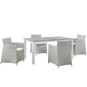 Outdoor Dining Sets - Modway EEI-1746-GRY-WHI-SET Junction 5 Piece Outdoor Patio Dining Set | 889654017882 | Only $1175.75. Buy today at http://www.contemporaryfurniturewarehouse.com