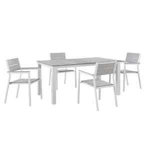 Maine Modern 5 Piece Outdoor Patio Dining Set Solid Light Gray Wood White