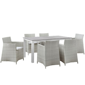 Junction 7 Piece Outdoor Patio Dining Set Gray White