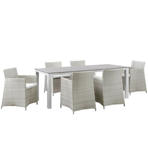 Outdoor Dining Sets - Modway EEI-1750-GRY-WHI-SET Junction 7 Piece Outdoor Patio Dining Set | 889654004516 | Only $1553.25. Buy today at http://www.contemporaryfurniturewarehouse.com