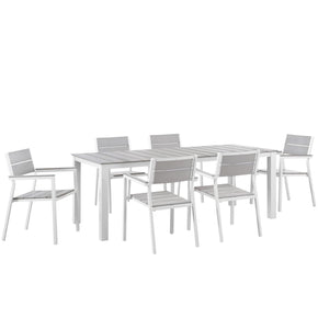 Maine Modern 7 Piece Outdoor Patio Dining Set Solid Light Gray Wood White