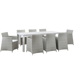 Junction 9 Piece Outdoor Patio Dining Set Gray White