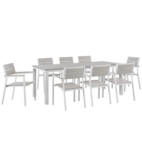 Outdoor Dining Sets - Modway EEI-1753-WHI-LGR-SET Maine Modern 9 Piece Outdoor Patio Dining Set Solid Light Gray Wood | 889654004578 | Only $1324.80. Buy today at http://www.contemporaryfurniturewarehouse.com