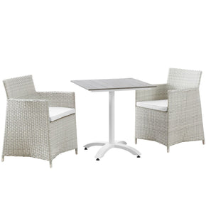 Outdoor Dining Sets - Modway EEI-1758-GRY-WHI-SET Junction 3 Piece Outdoor Patio Dining Set | 889654004653 | Only $593.00. Buy today at http://www.contemporaryfurniturewarehouse.com
