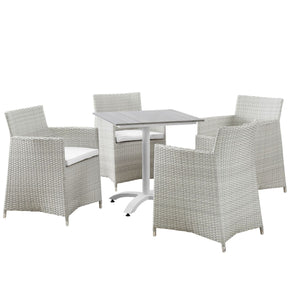 Outdoor Dining Sets - Modway EEI-1760-GRY-WHI-SET Junction 5 Piece Outdoor Patio Dining Set | 889654004691 | Only $967.75. Buy today at http://www.contemporaryfurniturewarehouse.com