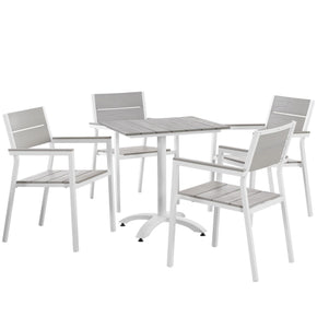 Outdoor Dining Sets - Modway EEI-1761-WHI-LGR-SET Maine Modern 5 Piece Outdoor Patio Dining Set Solid Light Gray Wood | 889654006558 | Only $605.00. Buy today at http://www.contemporaryfurniturewarehouse.com