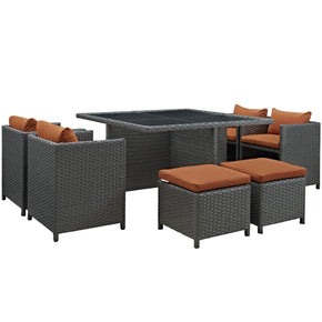 Sojourn 9 Piece Outdoor Patio Rattan Sunbrella Dining Set Canvas Tuscan