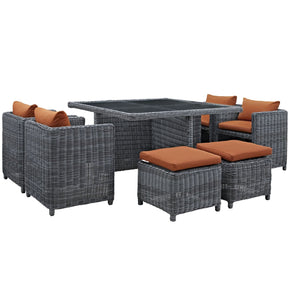 Outdoor Dining Sets - Modway EEI-1947-GRY-TUS-SET Summon 9 Piece Outdoor Patio Sunbrella Dining Set | 889654027447 | Only $1936.30. Buy today at http://www.contemporaryfurniturewarehouse.com