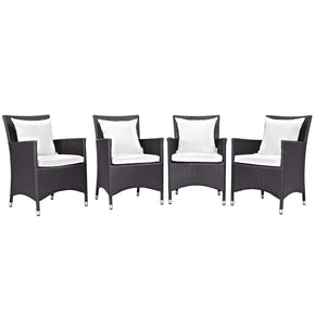 Outdoor Dining Sets - Modway EEI-2190-EXP-WHI-SET Convene 4 Piece Rattan Outdoor Patio Dining Set | 889654055525 | Only $593.25. Buy today at http://www.contemporaryfurniturewarehouse.com
