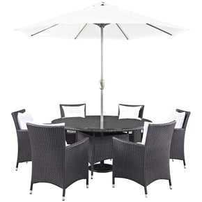 Convene 8 Piece Outdoor Patio Dining Set Espresso White