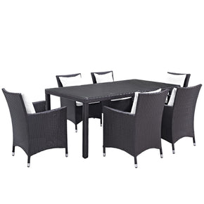 Outdoor Dining Sets - Modway EEI-2199-EXP-WHI-SET Convene 7 Piece Rattan Outdoor Patio Dining Set | 889654060420 | Only $1322.00. Buy today at http://www.contemporaryfurniturewarehouse.com