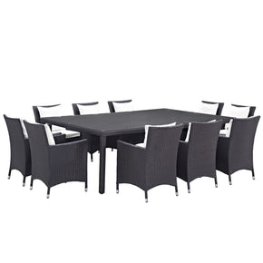 Convene 11 Piece Outdoor Patio Dining Set Espresso White