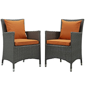 Outdoor Dining Sets - Modway EEI-2242-CHC-TUS-SET Sojourn 2 Piece Outdoor Patio Rattan Sunbrella Dining Set | 889654062837 | Only $386.00. Buy today at http://www.contemporaryfurniturewarehouse.com