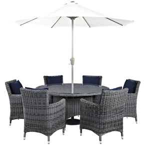 Summon 8 Piece Outdoor Patio Sunbrella Dining Set Canvas Navy