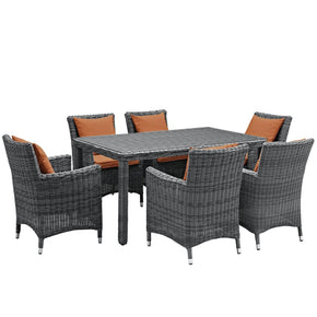 Summon 7 Piece Outdoor Patio Sunbrella Dining Set Canvas Tuscan