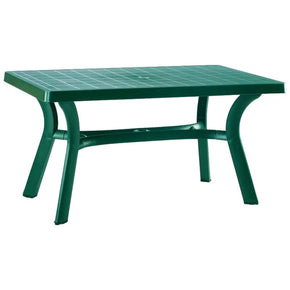 Sunrise Resin Rectangle Table 55 Inch Green Outdoor Dining