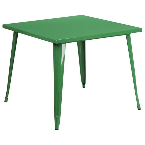 35.5'' Square Metal Indoor-Outdoor Table (Multiple Colors) Green Outdoor Dining