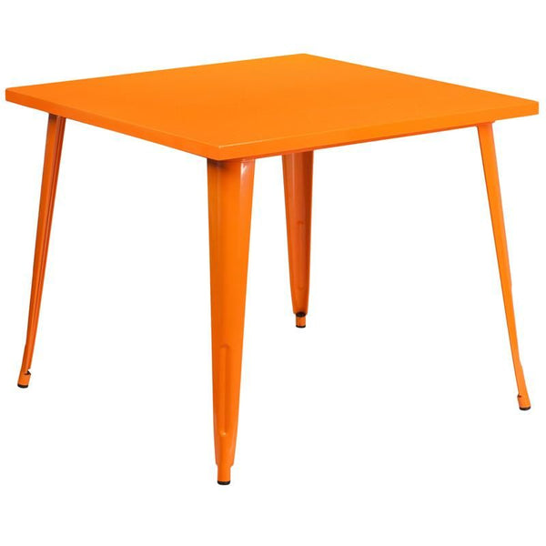 35.5'' Square Metal Indoor-Outdoor Table (Multiple Colors) Orange Outdoor Dining