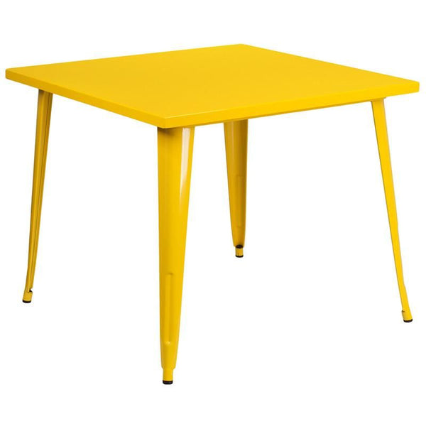 35.5'' Square Metal Indoor-Outdoor Table (Multiple Colors) Yellow Outdoor Dining