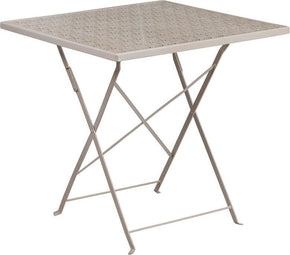 28'' Square Indoor-Outdoor Steel Folding Patio Table Gray Outdoor Dining