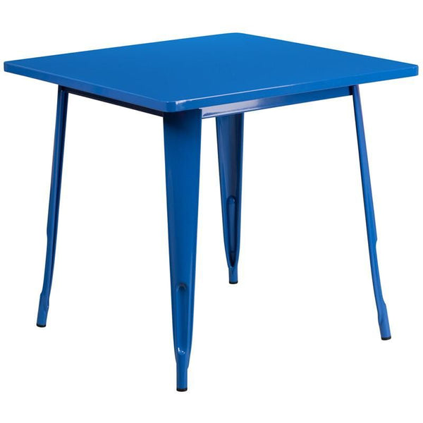 31.5'' Square Metal Indoor-Outdoor Table (Multiple Colors) Blue Outdoor Dining