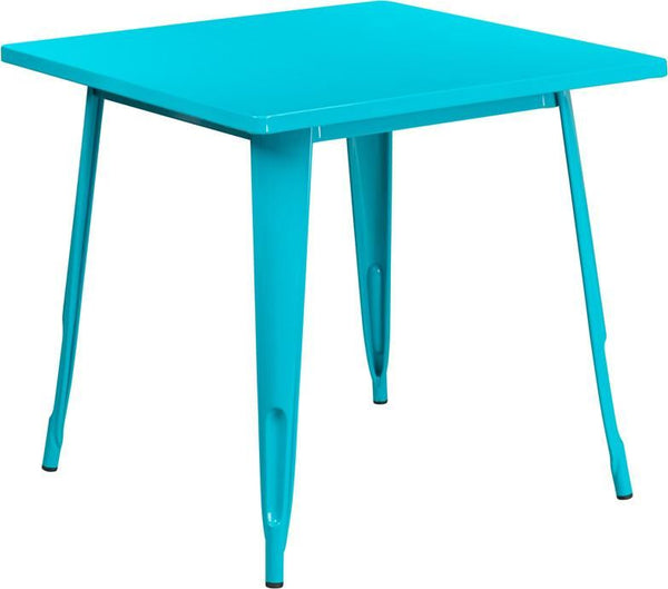 31.5'' Square Metal Indoor-Outdoor Table (Multiple Colors) Blue, Teal Outdoor Dining
