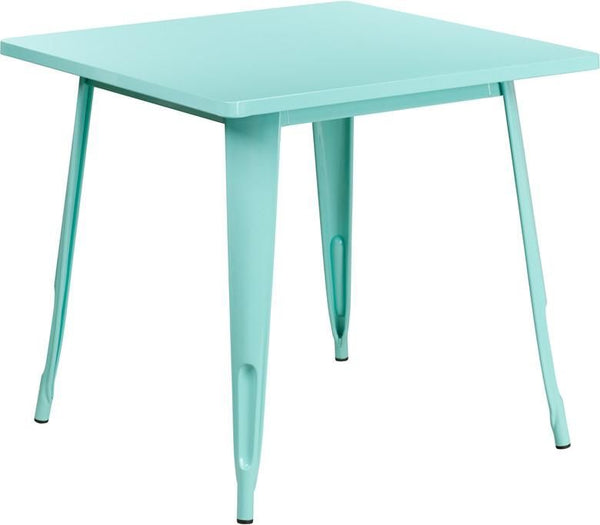 Bistro Tables - Flash Furniture ET-CT002-1-MINT-GG 31.5'' Square Metal Indoor-Outdoor Table (Multiple Colors) | 889142049821 | Only $129.80. Buy today at http://www.contemporaryfurniturewarehouse.com
