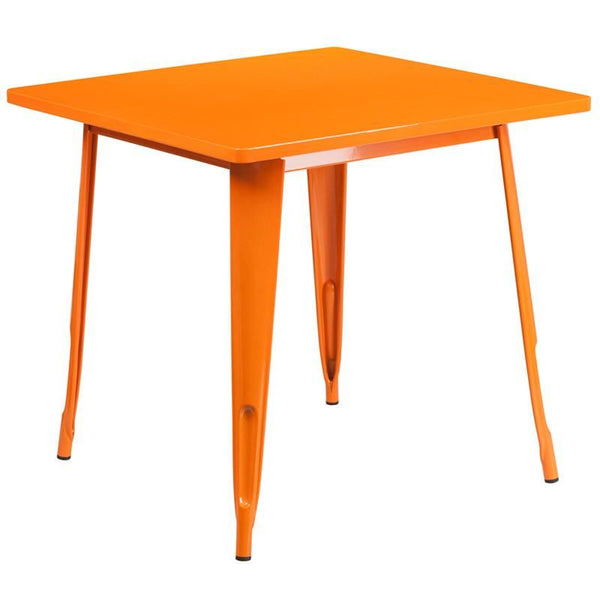 31.5'' Square Metal Indoor-Outdoor Table (Multiple Colors) Orange Outdoor Dining