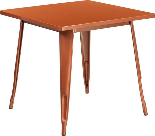 31.5'' Square Metal Indoor-Outdoor Table (Multiple Colors) Copper Outdoor Dining