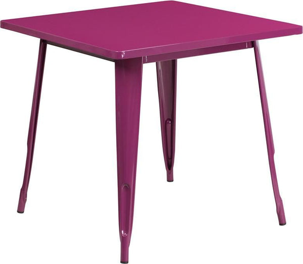 31.5'' Square Metal Indoor-Outdoor Table (Multiple Colors) Purple Outdoor Dining