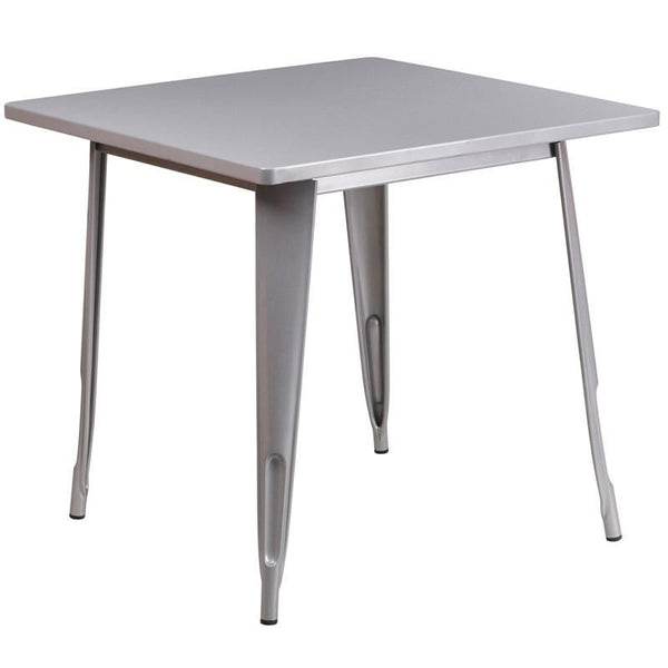 31.5'' Square Metal Indoor-Outdoor Table (Multiple Colors) Silver Outdoor Dining