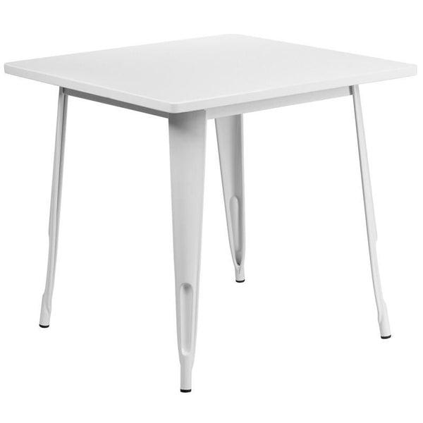 31.5'' Square Metal Indoor-Outdoor Table (Multiple Colors) White Outdoor Dining