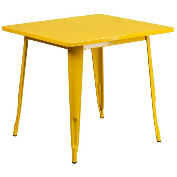 31.5'' Square Metal Indoor-Outdoor Table (Multiple Colors) Yellow Outdoor Dining