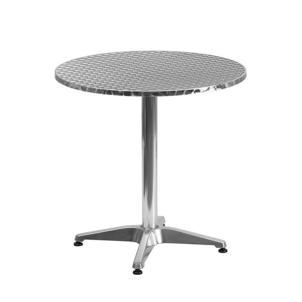 27.5'' Round Aluminum Indoor-Outdoor Table With Base Outdoor Dining