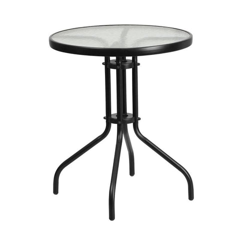23.75'' Round Tempered Glass Metal Table Black Outdoor Dining