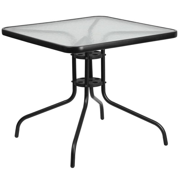 31.5'' Square Tempered Glass Metal Table Black Outdoor Dining