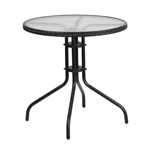 Flash Furniture 28'' Round Tempered Glass Metal Table with Rattan Edging TLH-087-BK-GG | 889142043805| $49.80. Outdoor Dining Tables - . Buy today at http://www.contemporaryfurniturewarehouse.com