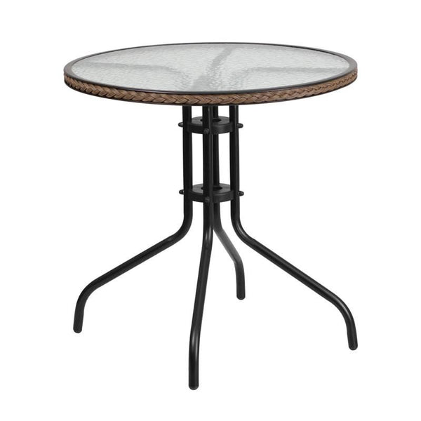 Flash Furniture 28'' Round Tempered Glass Metal Table with Rattan Edging TLH-087-DK-BN-GG | 889142043812| $49.80. Outdoor Dining Tables - . Buy today at http://www.contemporaryfurniturewarehouse.com