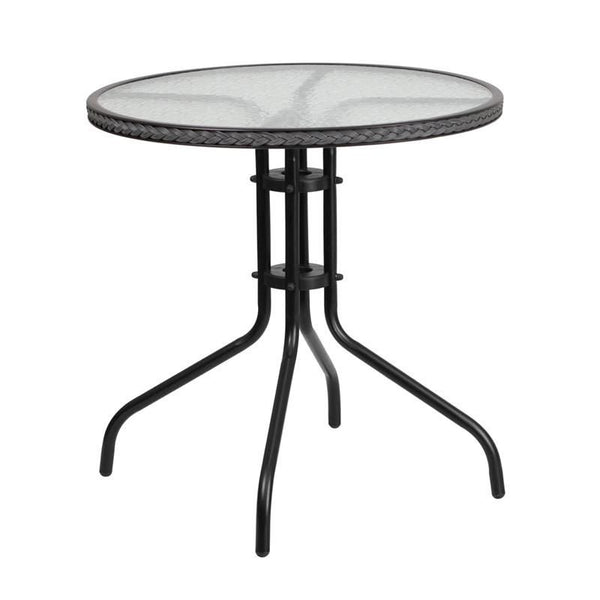 Flash Furniture 28'' Round Tempered Glass Metal Table with Rattan Edging TLH-087-GY-GG | 889142043829| $49.80. Outdoor Dining Tables - . Buy today at http://www.contemporaryfurniturewarehouse.com