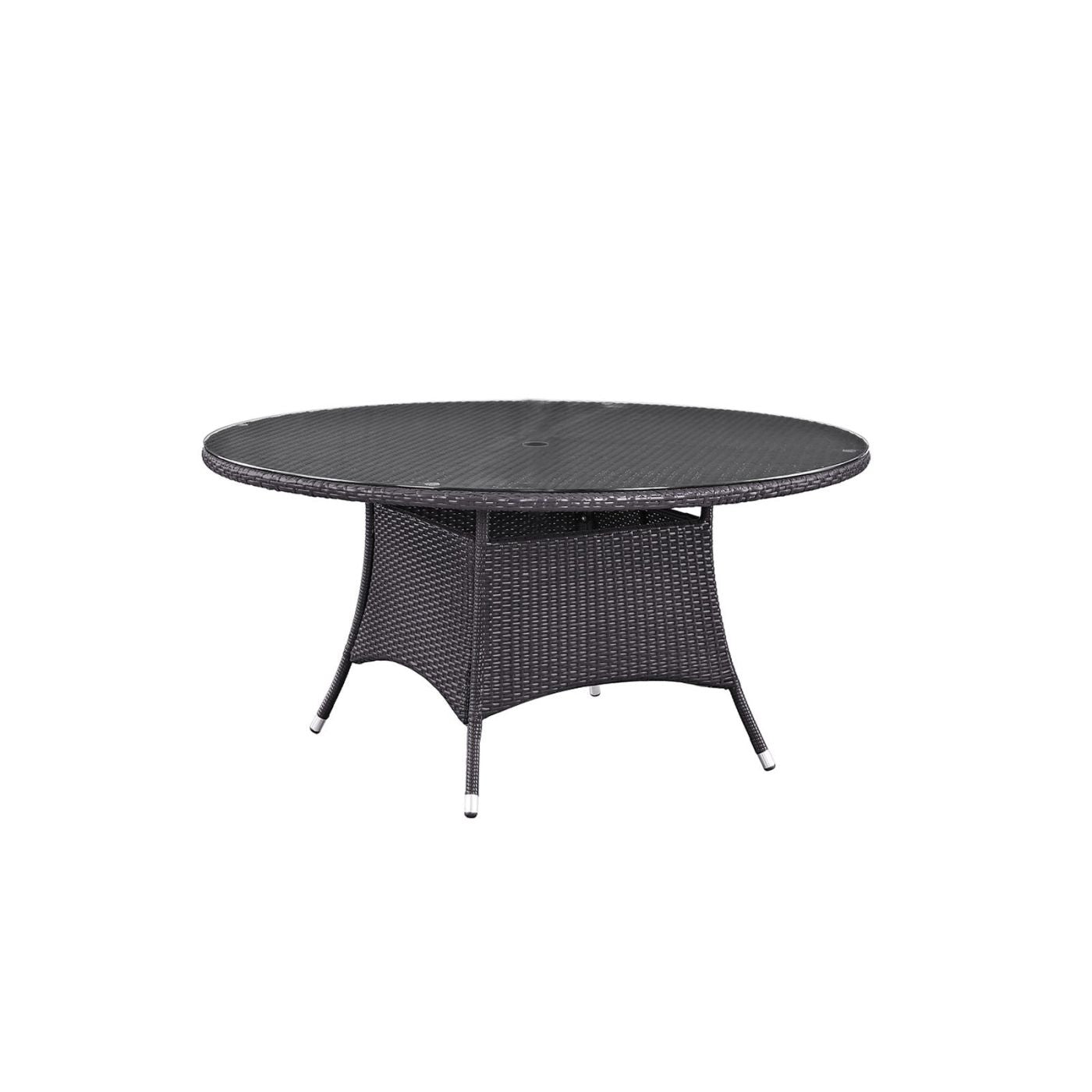 Modway Convene Square Glass Top Patio Dining Table in Espresso