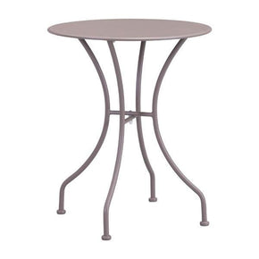 Oz Dining Round Table Taupe Electro & Powder Coated Metal Outdoor