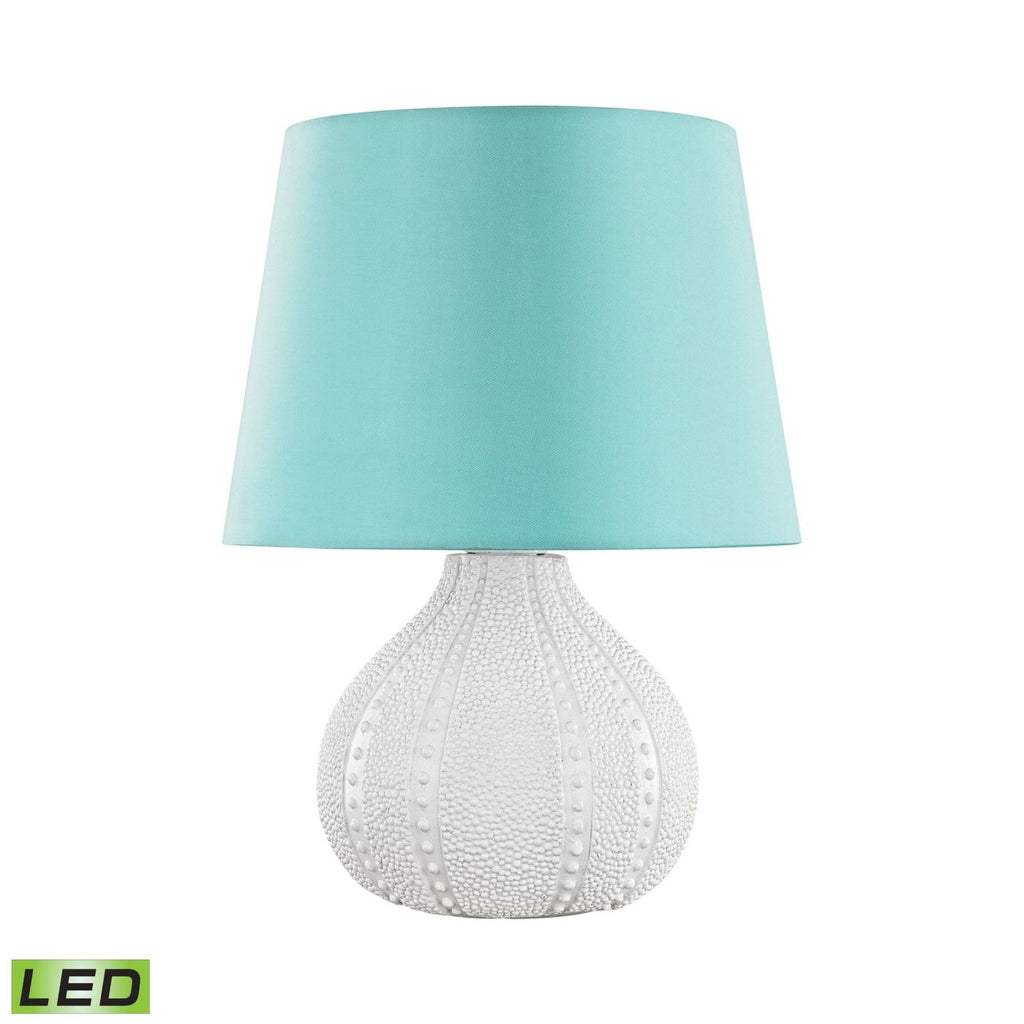 Aruba Outdoor Led Table Lamp With Sea Green Shade White